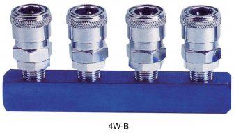 "AIR CONNECTOR, EU-Type, 4-way, 1/4"", Internal thread, Female (4W-B)"
