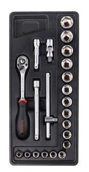 """22-pc 3/8""""Dr.Sockets & Accessories, 390x175x50mm (FIXMAN FX-F1.BT36)"""