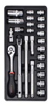 """24-pc 3/8""""Dr.Sockets & Accessories, 395x175x50mm (FIXMAN FX-F1.BT72)"""