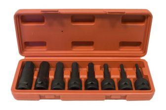 "1/2"" impact Hex socket bit set 5mm - 19mm, 8pcs (JQ-12-8set)"