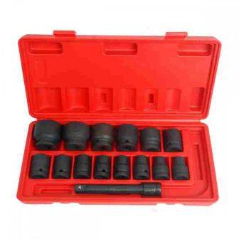 """1/2"""" Drive, socket tools kit 15pcs, (11-30mm), L:78mm (JQ-78-12-15set)"""