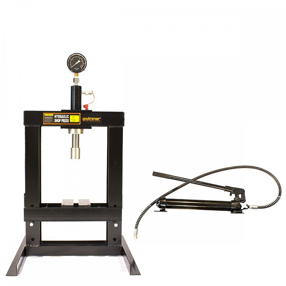 10 Ton Shop Press With Pressure Gauge Ez Tools