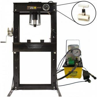 50 Ton Shop Press with Pressure Gauge, Hydraulic Pump, Speed valve (SP50E)