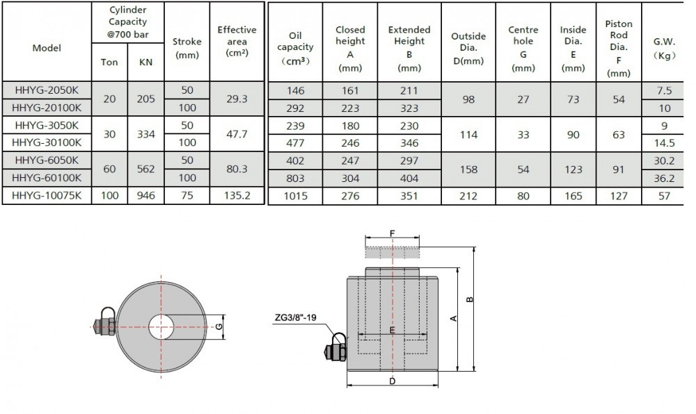 Single Acting Hollow Ram Cylinder 20 T 100 Mm Ez