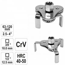 """YATO Oil Filter Wrench, Oil Filter Removal Tool 1/2"""" & 3/8"""", 3-Arms, 63-120mm (YT-0826)"""